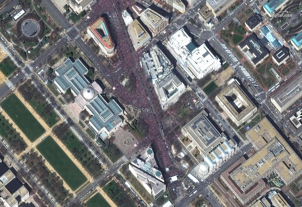 "This is a satellite image of the ""March for Our Lives"" rally in Washington, D.C."