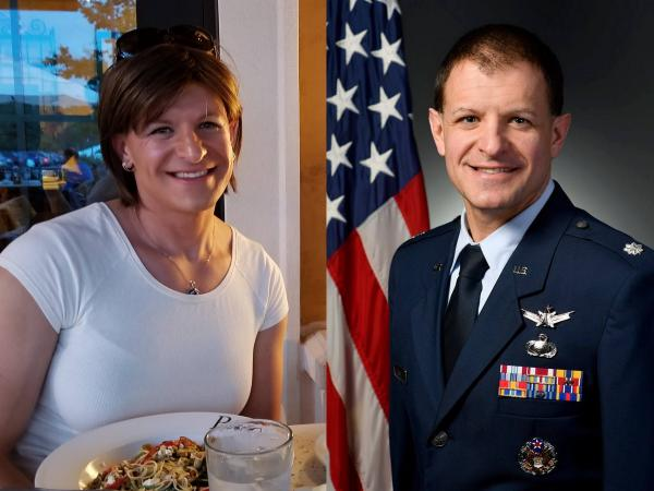 Lt. Col. Bree Fram, left, and Lt. Col. Bryan Fram in Air Force official photo.