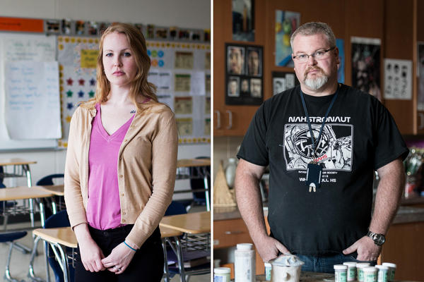 The TEACH grant helps teachers-to-be pay for college or a master's. But many teachers, like Maggie Webb (left) and David West, say when they began teaching, they were forced to pay it back.