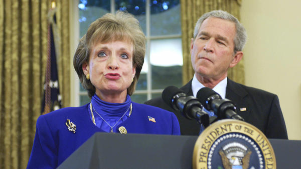 White House counsel Harriet Miers speaks after being nominated by President George W. Bush to the Supreme Court on Oct. 3, 2005. She would withdraw later that month after intense scrutiny of her qualificiations.