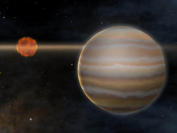 Artist's rendering of the first planet outside of our solar system to be imaged orbiting a brown dwarf star, called the 2M1207 system.
