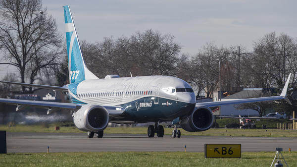 A Boeing 737 MAX 7 makes its first flight from Renton Municipal Airport, on March 16 in Renton, Wash. Many of the MAX models will not be targeted by Chinese tariffs.