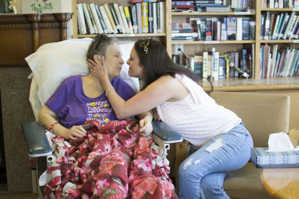 Melodie Beckham (left), here with her daughter, Laura, had metastatic lung cancer and chose to stop taking medical marijuana after it failed to relieve her symptoms. She died a few weeks after this photo was taken.