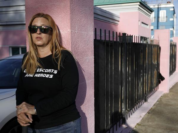 "Abortion-rights advocate Kim Gibson, a ""clinic defender,"" keeps watch at the entrance of the Jackson Women's Health Organization clinic, the only clinic providing abortions in Mississippi, last month."