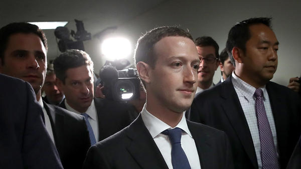Facebook CEO Mark Zuckerberg leaves the office of Sen. Dianne Feinstein, D-Calif., after meeting with her on Capitol Hill on Monday.