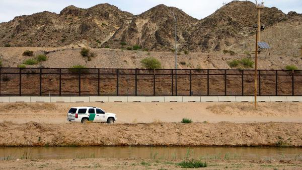 A U.S. Border Patrol vehicle is seen from Mexico while patrolling the border between the cities of El Paso, Texas, and Ciudad Juárez, Chihuahua state, on April 7.