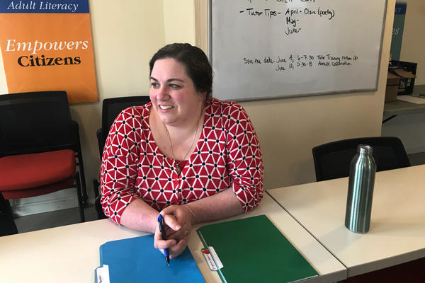 Meredith Eaton, program manager with Literacy Volunteers of Bangor, matches students and tutors based on goals and personality. Eaton says the stigma of low literacy can be paralyzing.