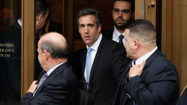 Michael Cohen leaves a federal courthouse in Manhattan on Monday, after a hearing about evidence seized during a raid of his home and office last week. Cohen has been under criminal investigation for months, according to court documents.