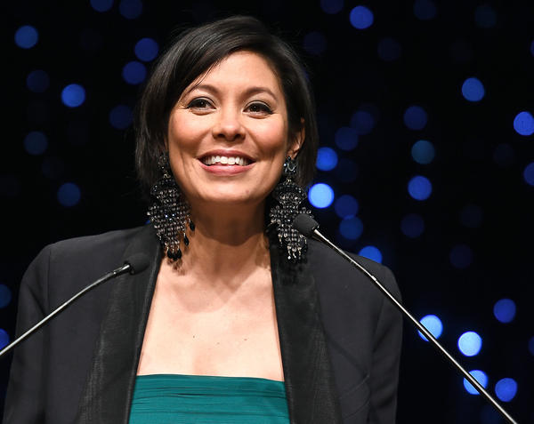 Alex Wagner is a co-host of <em>The Circus</em> on Showtime and a contributing editor at <em>The Atlantic. </em>Above, she<em> </em>speaks at the 69th Writers Guild Awards on Feb. 19, 2017, in New York City.
