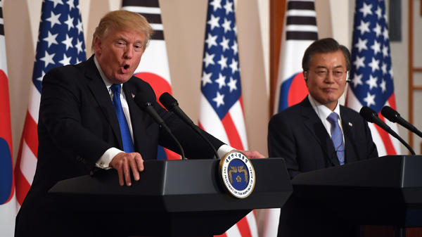 """""""It's President Trump who should receive the Nobel Prize,"""" South Korean President Moon Jae-in said, following Friday's summit with North Korea. Moon is seen here hosting Trump at the Blue House in Seoul in November."""