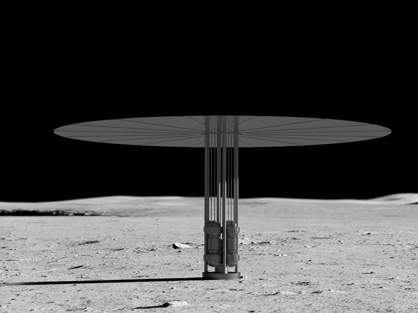 An artist's rendering shows the reactor's core is about the size of a paper towel roll and could provide a decade's worth of electricity to future missions.