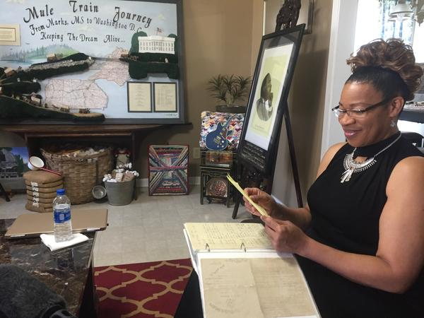Betty Crawford, Bertha Burres' cousin, recently moved back to Marks. Her home is filled with original art depicting the mule train, and she's preserving journals Burres kept during the historic journey.