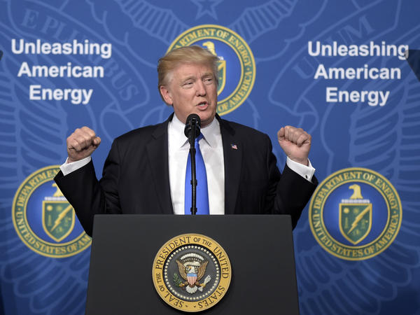 "President Trump speaking at the ""Unleashing American Energy"" event at the Department of Energy in June 2017. Trump said he wants to reorient toward ""American energy dominance."""