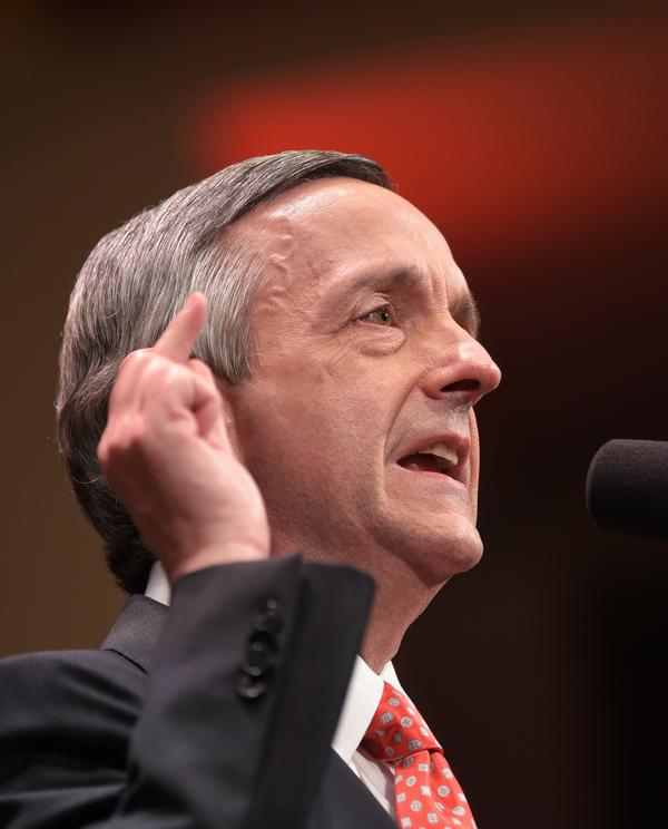 Pastor Robert Jeffress, seen here in July 2017, delivered the invocation at a ceremony marking the opening of the U.S. Embassy in Jerusalem. Jeffress is pastor of the First Baptist Church in Dallas.