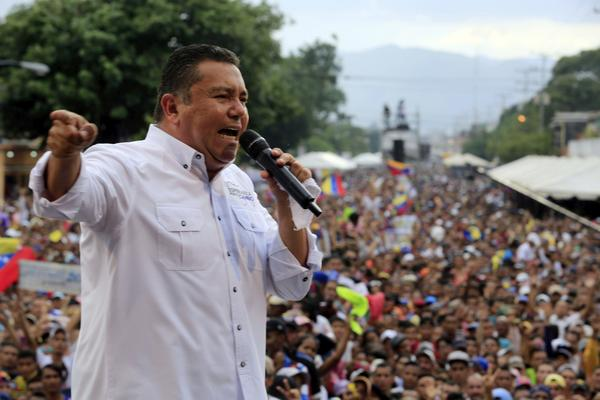 Venezuelan presidential candidate Javier Bertucci delivers a speech during a rally in Valencia, Venezuela, on Wednesday.