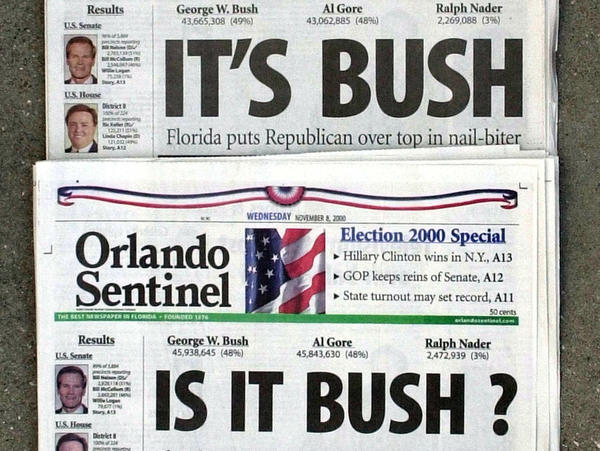 The Nov. 8, 2000 edition of the <em>Orlando Sentinel,</em> with election night headlines about the state. The exit polls showed a tight race and many networks called Florida for Al Gore, then George W. Bush.