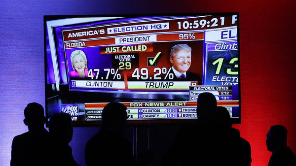 Supporters of Republican presidential nominee Donald Trump watch as Fox News projects him the winner in Florida on Nov. 8, 2016. Fox is joining the Associated Press in a new experiment to measure voter preferences, which will be key to their projections on election night in 2018.