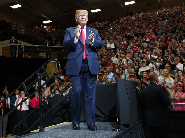 President Trump arrives at a campaign rally in Elkhart, Ind., on May 10, where he tried to fire up support for GOP Senate candidate Mike Braun, who is challenging Democratic incumbent Sen. Joe Donnelly in a state Trump won easily in 2016.