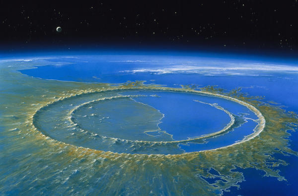 An artist's rendering of the Chicxulub impact crater on Mexico's Yucatan Peninsula from an asteroid that slammed into the planet some 65 million years ago.