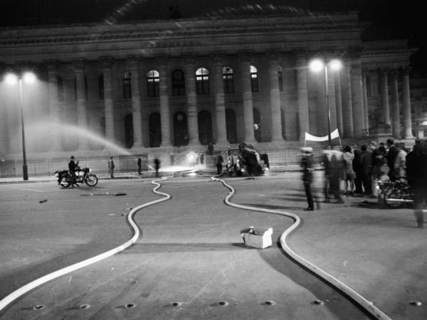The Paris Bourse, the stock exchange building, was attacked by protesters on May 25, 1968.