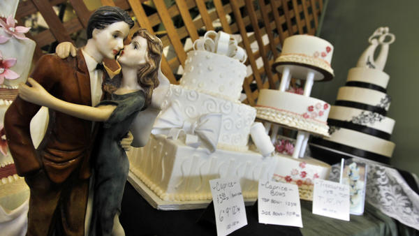 The wedding cake display seen at Masterpiece Cakeshop in Denver in 2013.