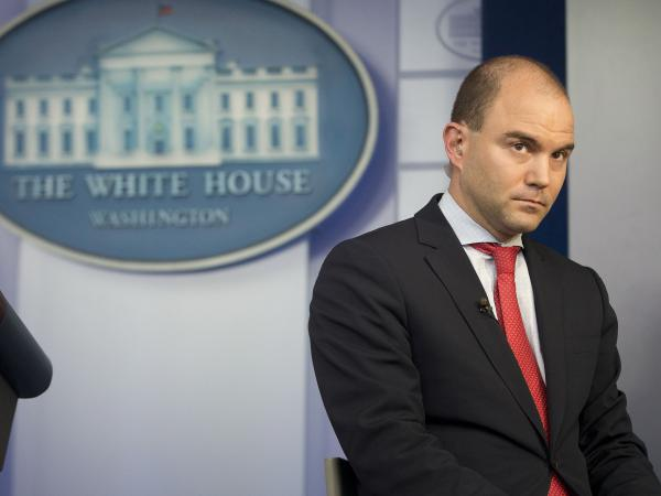 Rhodes attends an interview with CNN in the Brady Press Briefing Room of the White House on April 7, 2015.