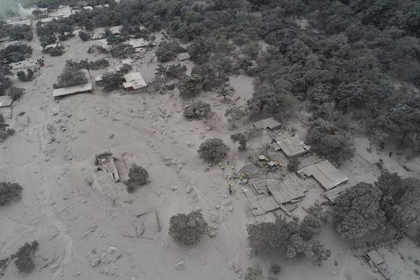 Volcanic ash blankets homes and trees near the Volcan de Fuego, where rescue workers gather in the El Rodeo hamlet of Escuintla.