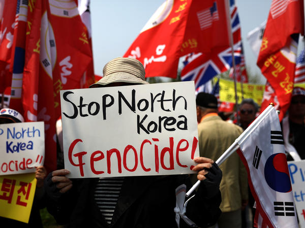 South Koreans protest against the April 27 inter-Korean summit, when North Korean leader Kim Jong Un and South Korean President Moon Jae-in met at the border.