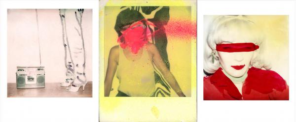 """""""Beyond the Streets"""" features blown-up prints of Maripol's Polaroids, some of which she has scratched and marked up to create new works of art. (Pictured, left to right: <em>Boombox with Legs</em>, 1978;<em> DayGlo Splash</em>, 1978; <em>Self Portrait Little Red Riding</em>, 1980)"""