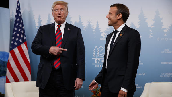 Trump meets with French President Emmanuel Macron during the G-7 summit Friday.
