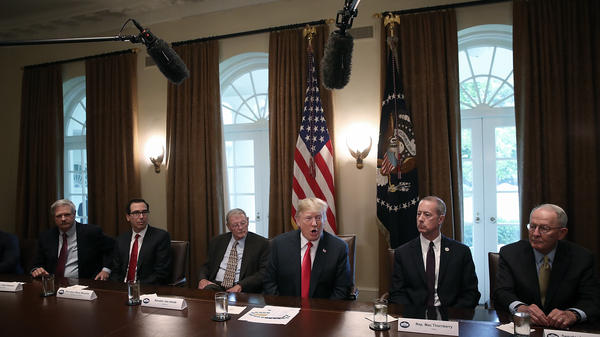 President Trump speaks on immigration issues while meeting with Republican members of Congress in the Cabinet Room of the White House.