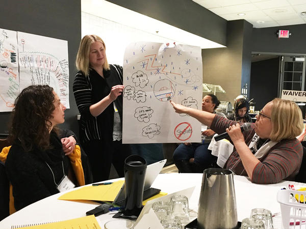 Linda Brant-Malm, right; Jaclyn Landon, center; and Nicole Plan used visuals to talk about services they need from county government at a Partners in Policymaking class in November 2017.
