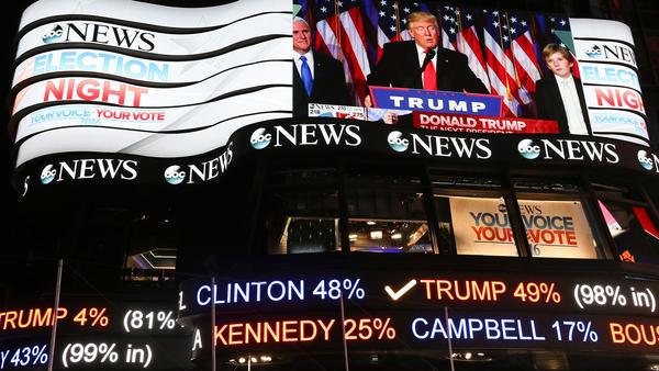 President-elect Trump's acceptance speech was broadcast in Times Square in New York City after his 2016 election. Nearly two years later, the partisan divide grows even wider.