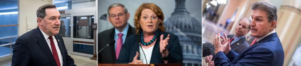 (Left to right) Sen. Joe Donnelly of Indiana; Sen. Heidi Heitkamp of North Dakota; Sen. Joe Manchin of West Virginia.