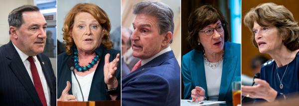 (Left to right) Democratic Sens. Joe Donnelly, Heidi Heitkamp and Joe Manchin; GOP Sens. Susan Collins and Lisa Murkowski