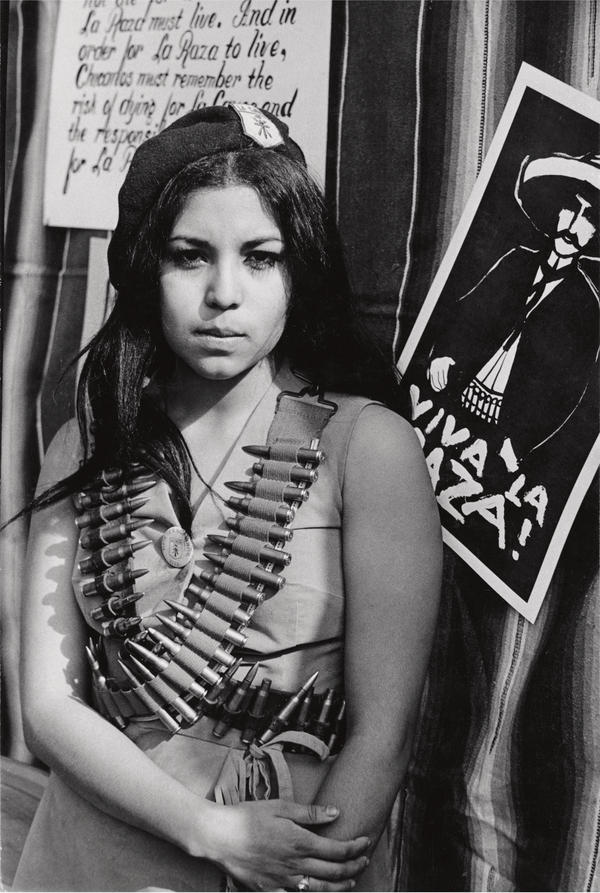 Rodriguez took this portrait of a Chicana demonstrator in the neighborhood of Lincoln Heights in 1969.