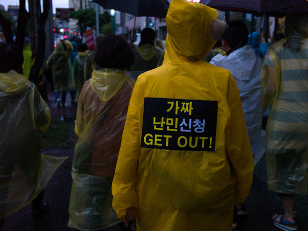 Residents of Jeju island take part in one of the country's protests against acceptance of Yemeni refugees. A larger protest took place last weekend in Seoul.
