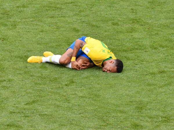 Neymar reacts after a tackle during the Russia 2018 World Cup match between Brazil and Mexico in Samara on Monday.