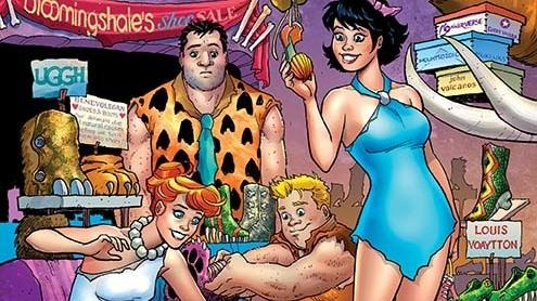 Writer Mark Russell says artist Steve Pugh's character designs bring humanity to his updated version of <em>The Flintstones.</em>