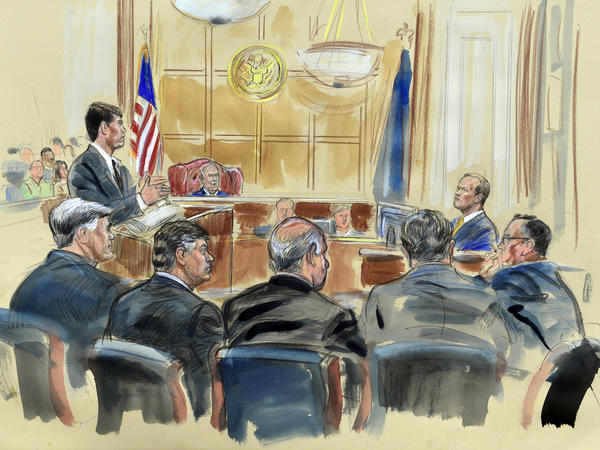 This courtroom sketch depicts Gates (right) answering questions by prosecutor Greg Andres as he testifies in Manafort's trial.