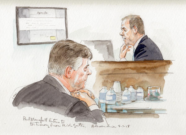 Paul Manafort listens to Rick Gates testifying on Tuesday.