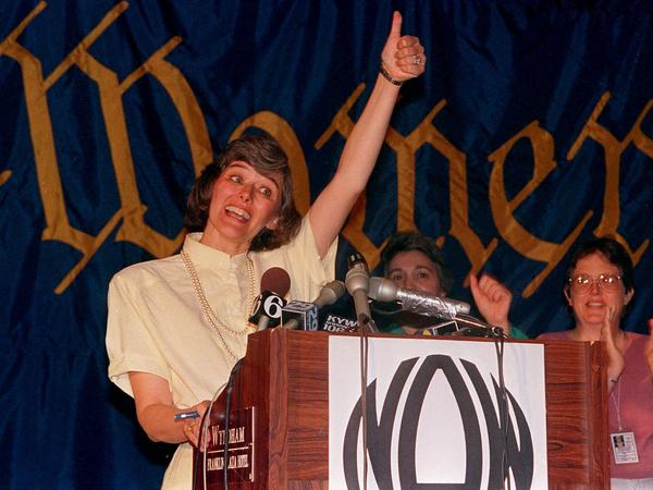 In July 1987, Democratic Rep. Pat Schroeder of Colorado addresses supporters at a National Organization for Women convention in Philadelphia.