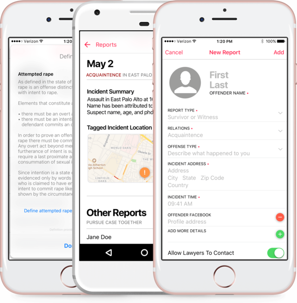 The JDoe app tags the location of incident as well as incident type, the relationship between the victim and offender, the offender's facebook address.