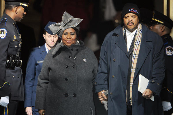 Franklin arrives for the inauguration of President-elect Barack Obama at the U.S. Capitol on Jan. 20, 2009.