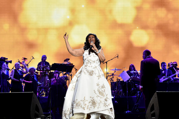 Franklin onstage at a gala performance on April 19, 2017, in New York City to celebrate the world premiere of <em>Clive Davis: The Soundtrack of Our Lives,</em> a documentary film about the record industry mogul who signed her to the Arista label.