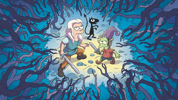 (Clockwise From Top): The demon Luci (Eric Andre), the elf Elfo (Nat Faxon) and the princess Bean (Abbi Jacobson) head into the woods in <em>Disenchantment</em>.