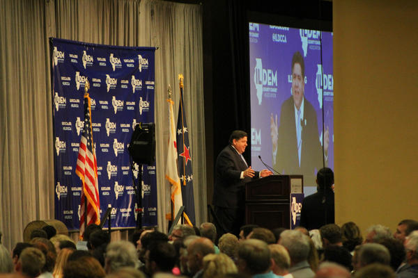J.B. Pritzker speaks at the 2018 Illinois Democratic County Chairs' Association's annual State Fair brunch.