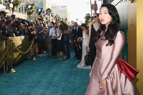 Awkwafina arrives at the <em>Crazy Rich Asians</em> premiere in Hollywood.