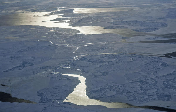 Sea ice is seen from NASA's Operation IceBridge research aircraft off the northwest coast of Greenland on March 30, 2017.