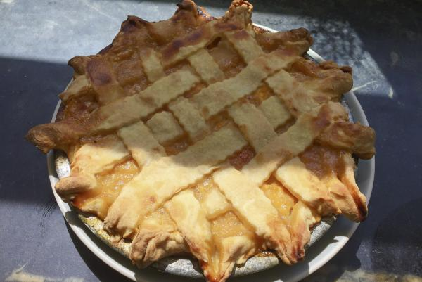 Chef Kathy Gunst's summer peach pie. (Kathy Gunst for Here & Now)